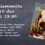 Medlemsmöte 10 dec med föredrag om hundmat